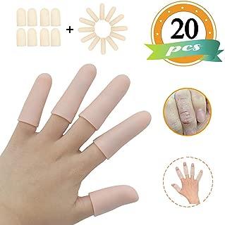 (20PCS) Gel Finger Sleeves,Finger Support,Silicones Finger Protectors *Waterproof* Finger Cots Great for Finger Craking,Finger Trigger.