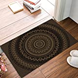 FAMILYDECOR Doormat for Entrance Way Indoor/Bathroom/Front Door Area Floor Mat Rugs Rubber Non Slip Absorb Kitchen Runner Carpet, Hippie Mandala Art Design Boho (Brown/Black) 20'x31.5'