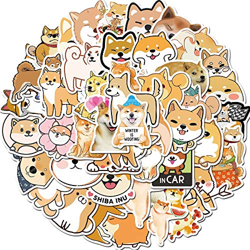 Dog Stickers for Laptop Water Bottle Luggage Skateboard Helmet Bike Phone 50pcs Pack, Best Gifts for Teen Girls Boys Kids Children, Waterproof Cool and Trendy Cute Stickers (Shiba Inu)