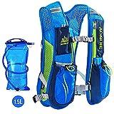 E-NORBE AONIJIE Mochila de hidratación 5.5 L 6 Bolsillos Volumen Maratoner Running Race Chaleco de hidratación para Correr, Senderismo, Mochila con Bolsa de hidratación (Azul con vejiga)