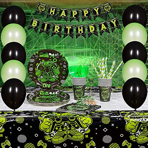 Video Game Birthday Party Decoration and Supplies  Happy Birthday Video Game Backdrop Banner Plates Napkins Cups Balloons Cupcake Toppers Straws Tableware Utensils Serves 16 Guests 142 PCS