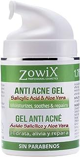 ZOWIX Gel Antiacne. Reduce granos espinillas y puntos negros. Controla y equilibra el acné facial y corporal. 50 ml