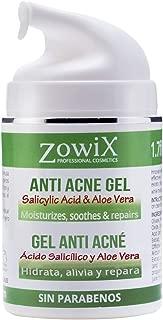 ZOWIX Gel Antiacne. Reduce granos, espinillas y puntos negros. Controla y equilibra el acné facial y corporal. 50 ml