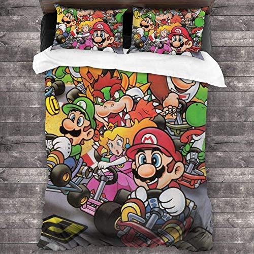 shenguang Ensemble de 3 pièces de literie Super-Mario-Bros Avec 1 housse de couette + 2 taies d'oreiller, Tissu Microfibre Doux-rétrécissement-résistance à la décoloration-entretien facile-m