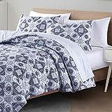 Wellbeing Queen Comforter Set,3 Pieces Full Size Cotton Comforter Sets, Blue Isla Tile Lightweight...