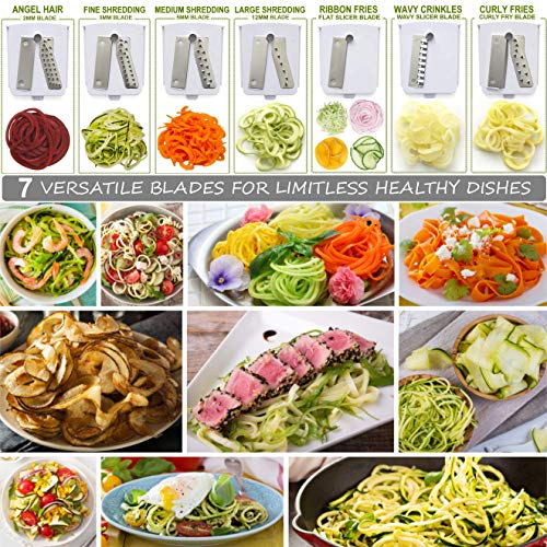 Product Image 5: Brieftons 7-Blade Spiralizer: Strongest-and-Heaviest Duty Vegetable Spiral Slicer, Best Veggie Pasta Spaghetti Maker for Low Carb/Paleo/Gluten-Free, With Container, Lid, Blade Caddy & 4 Recipe Ebooks
