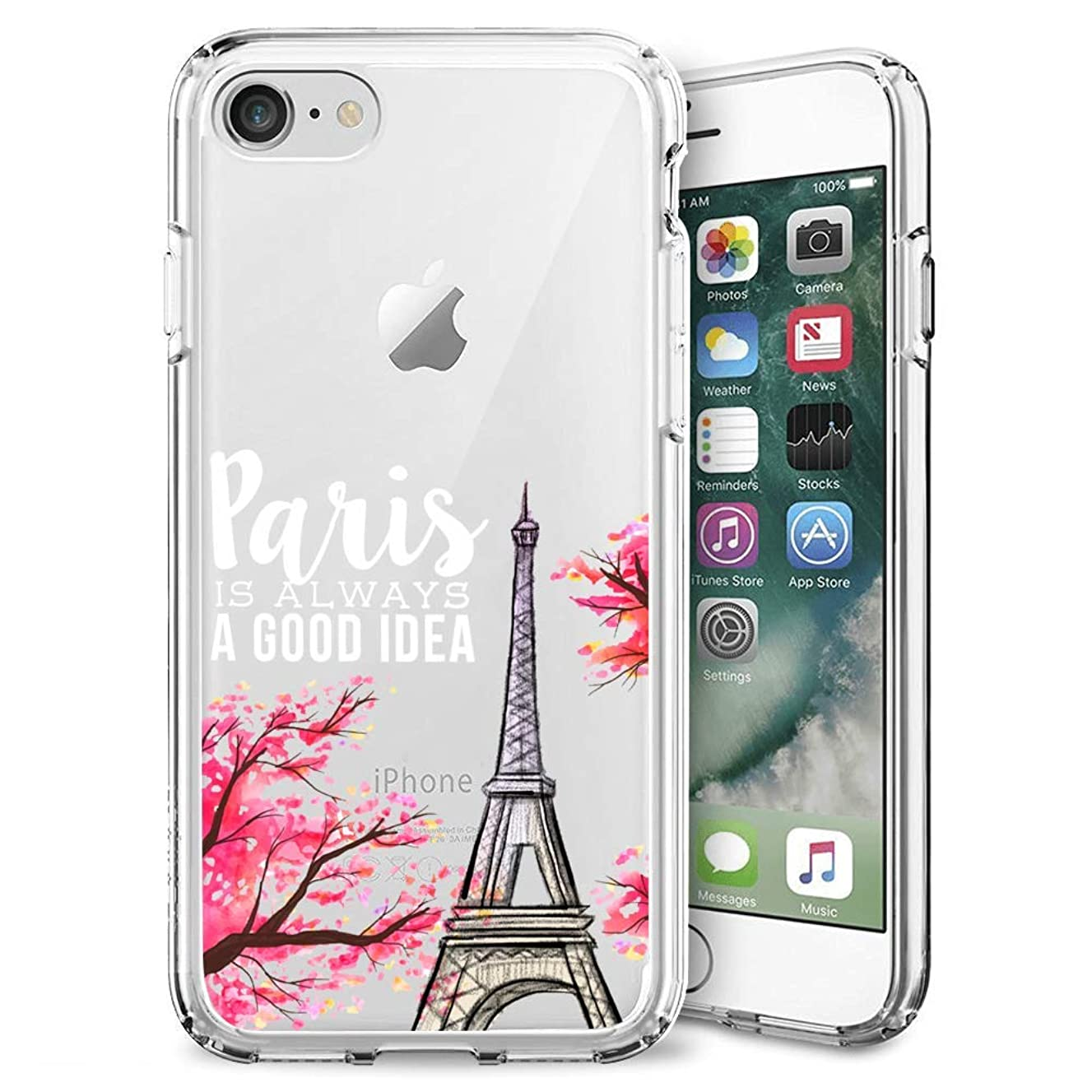Case for iPhone 7 8 Paris Pink Eiffel Tower Clear Case Shockproof Flexible Slim Soft Durable Rubber TPU Ultra-Clear Silicone Protective Case for iPhone 7 8