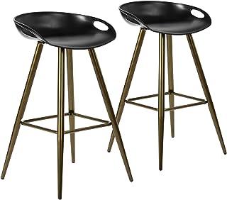 FurnitureR 2Pcs/Set Pub Bar Stools, Retro Design Metal Round Counter Height Stool,