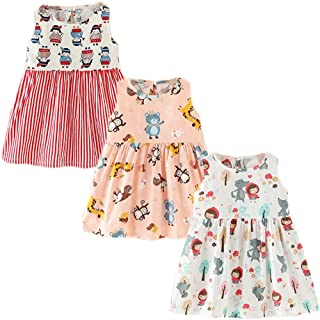XM-Amigo - Vestido de verano para niñas, diseño de flores, sin mangas, de algodón, para niñas, 6 meses y 10 años