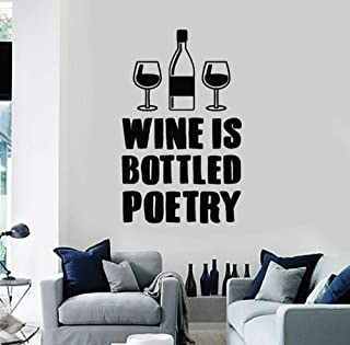 JiuJiu.YanCo,Ltd Wine Shop Sign Kitchen Quotes Wine is Bottled Poetry Wall Decal Vinyl Sticker Home Decor Wall Decal Interior Decor Mural67x42cm