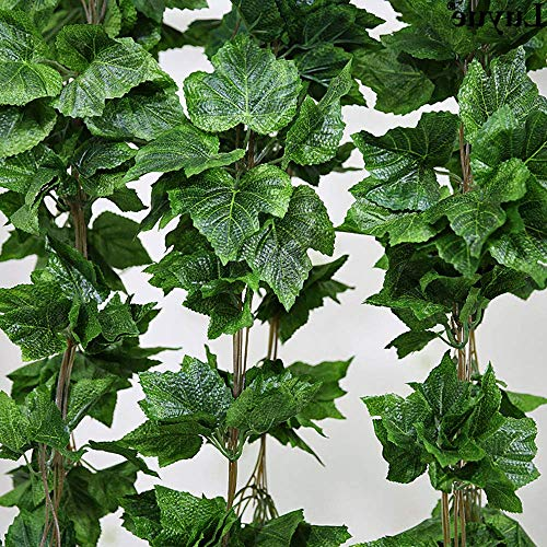 XHCP 5 Pack Artificial Ivy Garland Foliage Green Fake Grape Leaves Hanging Vine Plant for Wedding Party Garden Home Decor