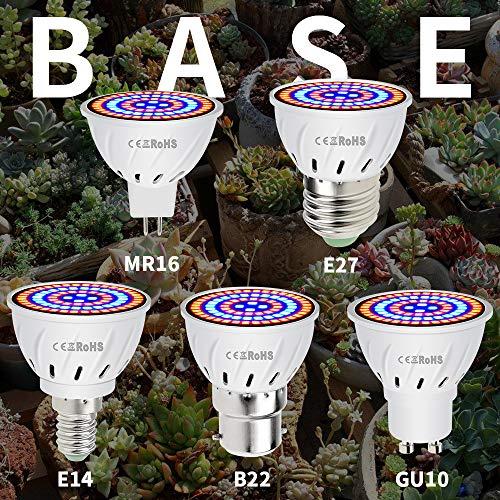 ZJING Led Grow Light Bulb - Led Plant Light Full Spectrum LEDs for Indoor Plants, Greenhouse Hydroponic Growing, Garden Flowers, Vegetables - 1 Pcs,48LED,E14