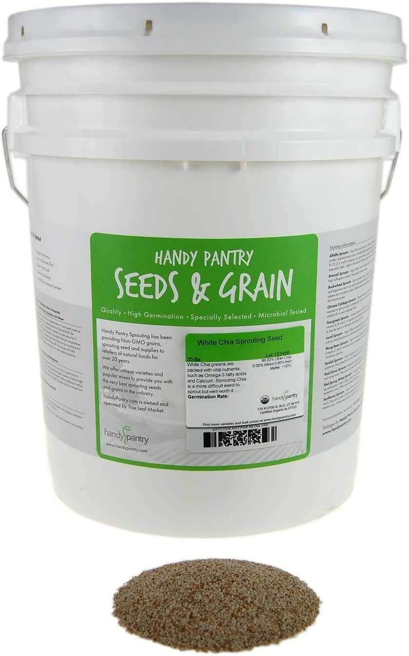 Outstanding Organic White Chia Seeds- 35 Lbs- Sp for Seeds Sprouting Growing Limited Special Price
