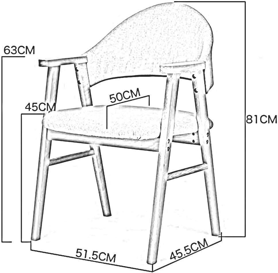 Dall Chaise De Salle À Manger Cadre en Bois Massif Loisir Dossier Accoudoir Table Chaise Coussin Doux Lavable Amovible Facile À Assembler (Color : T2) T3