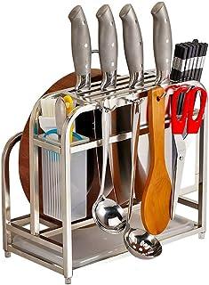 AIYoo - Estante de cocina para cortar, de acero inoxidable, con ganchos