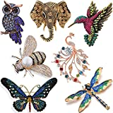 YallFF 7 Pieces Women Brooch Set Crystal Pin Vintage with Dragonfly Butterfly Hummingbird ...