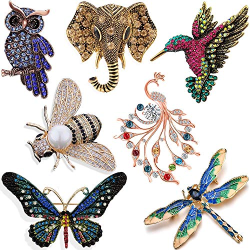 YallFF 7 Pieces Women Brooch Set Crystal Pin Vintage with Dragonfly Butterfly Hummingbird Owl Elephant Peacock Bee Animal and Insect Brooch Pin for Women Girls