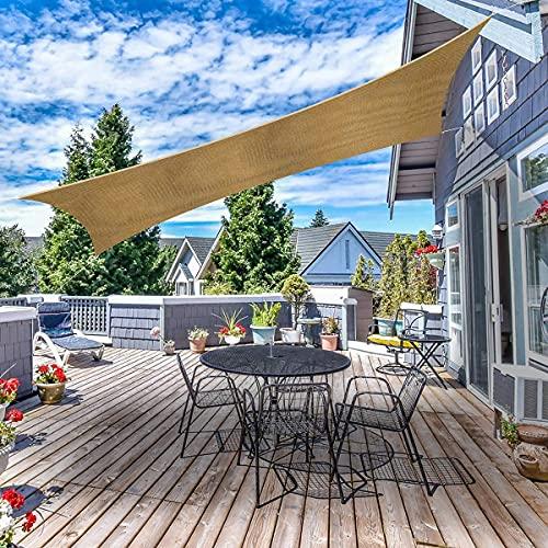 Tvird Sonnensegel rechteckige Sonnensegel 3x3m inkl. Befestigungsseile reißfestem HDPE-Kunststoff Wasserabweisend Wetterbeständig UV-Schutz für Garten Outdoor Camping Party mit Aufbewahrungstasche