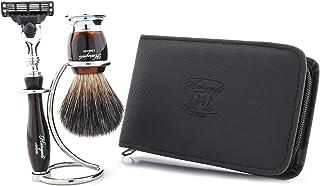 Zestaw do golenia dla mężczyzn zestaw upominkowy 3 ostrza do golenia golenia uchwyt na pędzle do golenia czysta skóra wore...