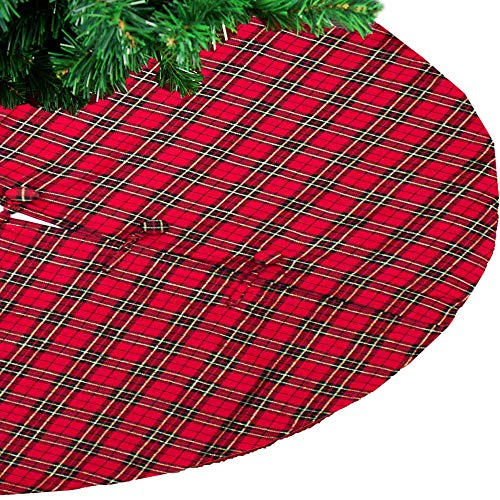 Fennco Styles Holiday Tartan Plaid Dazzle Christmas Decorative Table Runner (53' Plaid Tree Skirt)