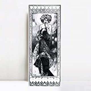 INVIN ART Framed Canvas Giclee Print Evening Star. from The Moon and The Stars Series. 1902 by Alphonse Mucha Wall Art Living Room Home Office Decorations(White Slim Frame,12
