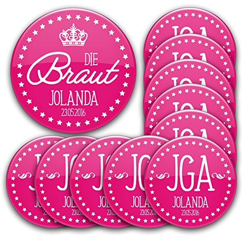 stylebutton design your own JGA Button Set #1: 1 x Braut 76mm 10 Buttons Ø 5,6cm mit Name und Datum personalisiert für Junggesellinnenabschied