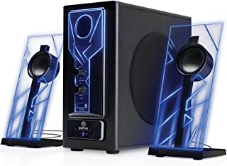 GOgroove BassPULSE Bluetooth Computer Speakers with Subwoofer, Glowing Blue LED Lights, 2.1 Powered System and 33 Foot Wireless Connection, Compatible with Desktop PC, Laptop, Smartphone, Tablet