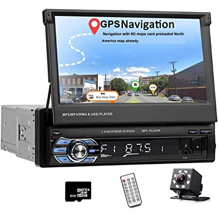 Car Stereo Single Din in Dash Head Unit with GPS 7 Inch HD Fold Up Touch Screen Car Radio with Bluetooth Audio Video Support Mirror Link FM/SD/USB/AUX-in with Backup Camera & Remote Control