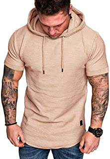 OULSEN Men's Fashion Hooded T-shirt Slim Solid Color Short Sleeve Sport Tees Summer Casual White Black Gray Tee Top Blouse For Men