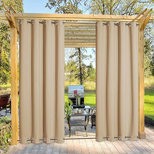 nicetown home patio curtains NICETOWN Outdoor Curtain for Patio Waterproof & Windproof, Thermal Insulated Top and Bottom Fixed Rustproof Grommets Light Block Outdoor Curtain Drape for Pool, Biscotti Beige, 1 Panel, W52 by L95