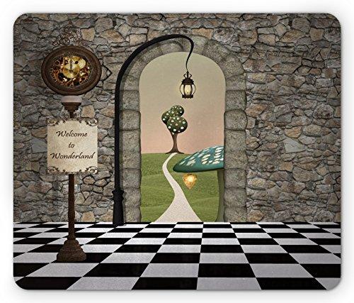 Ambesonne Alice in Wonderland Mouse Pad, Welcome Wonderland Black and White Floor Landscape Mushroom Lantern, Rectangle Non-Slip Rubber Mousepad, Standard Size, Black Green