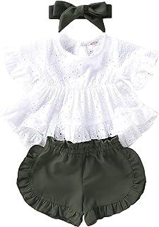 Janly Clearance Sale, Conjunto de ropa de 0 a 3 años para niñas recién nacidas, camiseta de encaje con volantes sólidos, bonito regalo de Pascua, juego de ropa de bebé