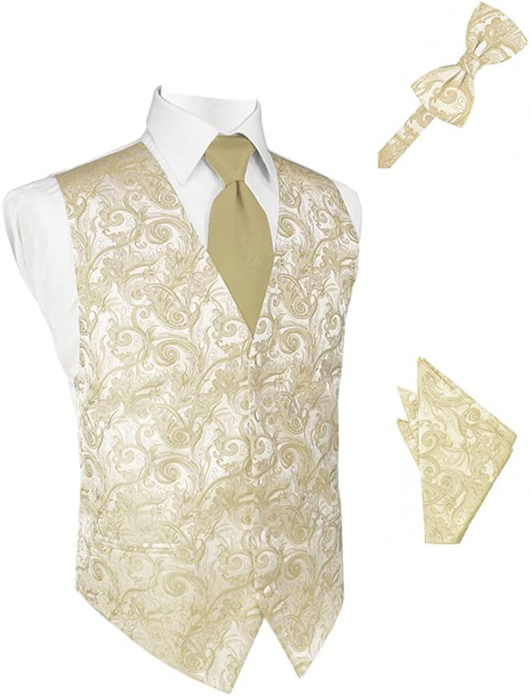 Golden Tapestry Satin Tuxedo Vest with Long Tie Bowtie and Pocket Square Set