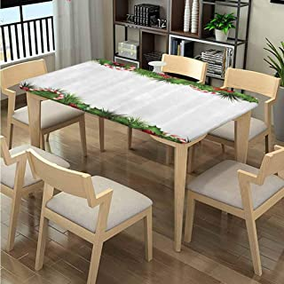 LQQBSTORAGE Elastic Edge Fabric Tablecloths for Kitchen Room, Holly Sprigs Candies Pattern Printing, Elastic on The Corner Rectangular Tablecloth Fits Rectangular Tables:60