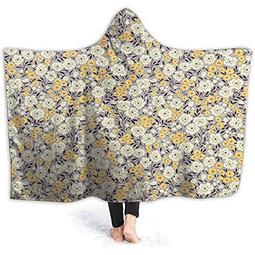 Draagbare capuchon, warm, klei, bloemen, bladeren, capuchon, poncho, grappig, 3D-print, voor mannen en vrouwen, comfortabel, met capuchon