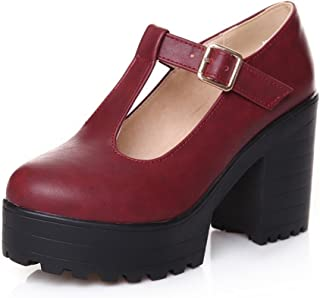 Milesline Fashion Women s Round Toe Platform Shoes T-Strap Chunky Heel Mary  Jane Pumps 80a386c1d72f