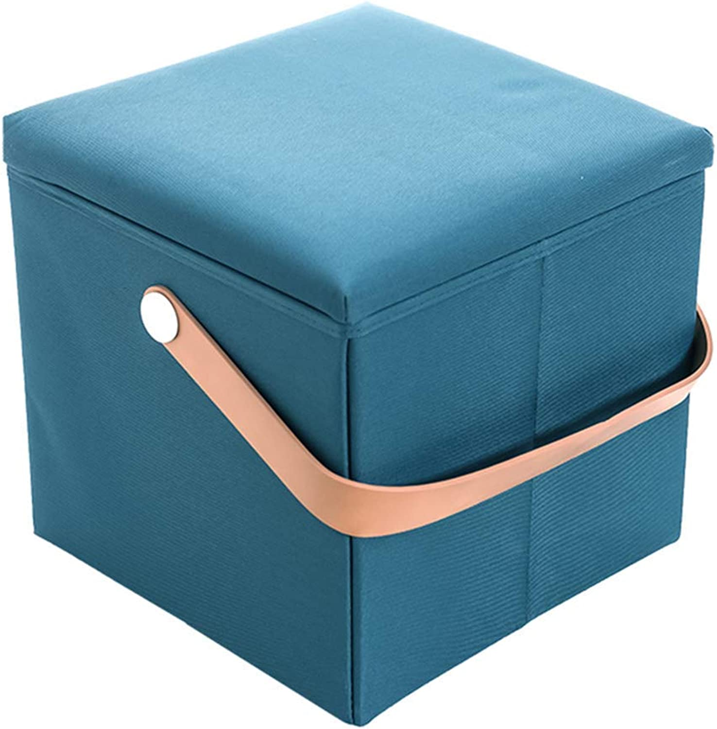 ChenDz Cute Stool Oxford Cloth Storage Stool Storage Stool seat Box Change shoes Stool Storage Box Square Folding Stool can sit People (color   bluee)