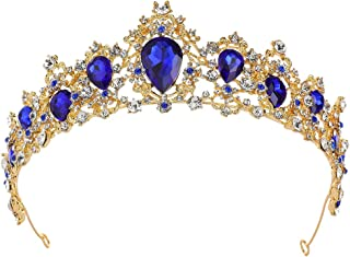 Baroque Prom Queen Crown - Bridal Crown Rhinestone Tiara Crystal Hairband Gold Tiara for Women - Wedding, Party, Birthday, Photography Accessories (Sapphire crown)