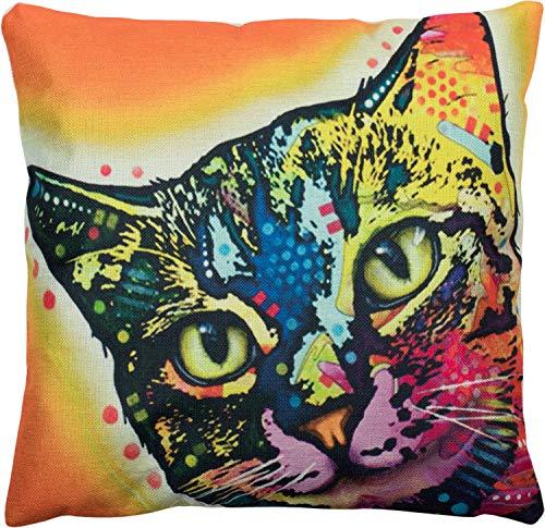 Puccybell Kussensloop met kleurrijke katten dierenmotief digitale print, decoratieve Kussenhoes voor kussens 45 x 45 cm KB003 (oranje)