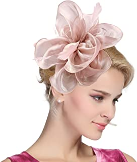 ec4fbb974e9 Urban CoCo Women s Vintage Flower Feather Mesh Net Fascinator Hair Clip Hat  Party Wedding