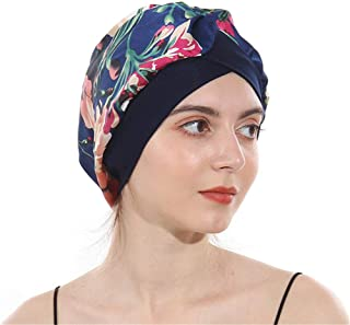 DuoZan Women's Soft Silky Satin Turban Elastic Wide Band Satin Bonnet Night Sleep Hat Hair Loss Cap (Royal blue), 1