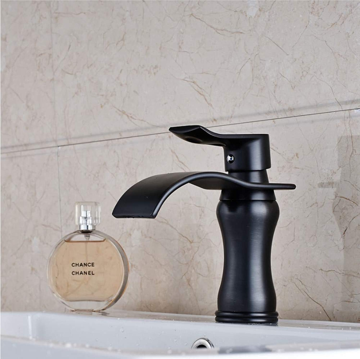 Knncch Oil Rubbed Bronze Waterfall Bathroom Basin Faucet Single Handle Hole Mixer Tap