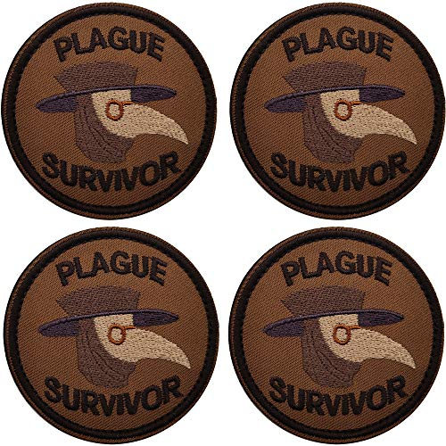 Plague Survivor Geek Merit Embroidered Patches with Fastener Hook and Loop Backing Badges, Emblem Tactical Military Morale Funny Decoration DIY Appliques
