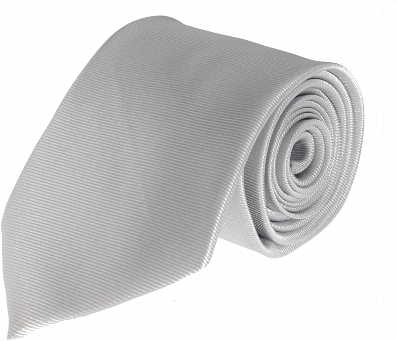 Clericci Mens Necktie Silver with Horizontal Pinstripe Design Tie