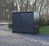 2 Mülltonnenboxen Modell No.2 für 120 Liter Mülltonnen / komplett Anthrazit RAL 7016 / witterungsbeständig durch Pulverbeschichtung / mit Klappdeckel und Fronttür