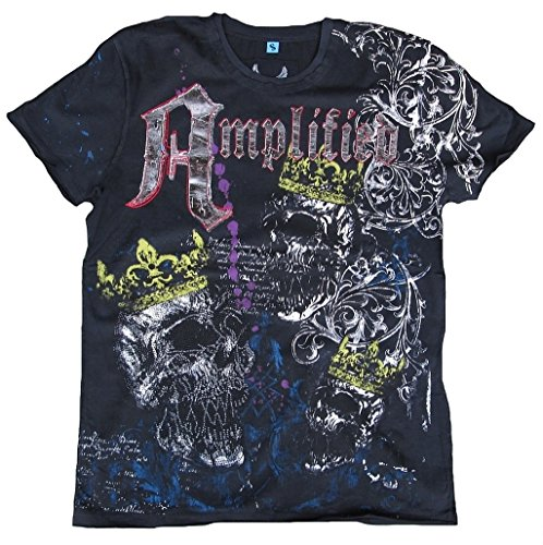 Amplified T-shirt pour homme Noir Black Saint Sinner Royal Skull strass roi King Tête de Mort Designer Marteau Special Edition Rock Star Vintage Coutu