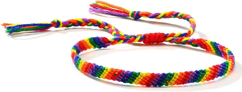 Hanpeelry Rainbow LGBT Bracelet Adjustable Pride Braided Woven Bracelet for Gay & Lesbian Handmade Friendship String Bracelet Gifts
