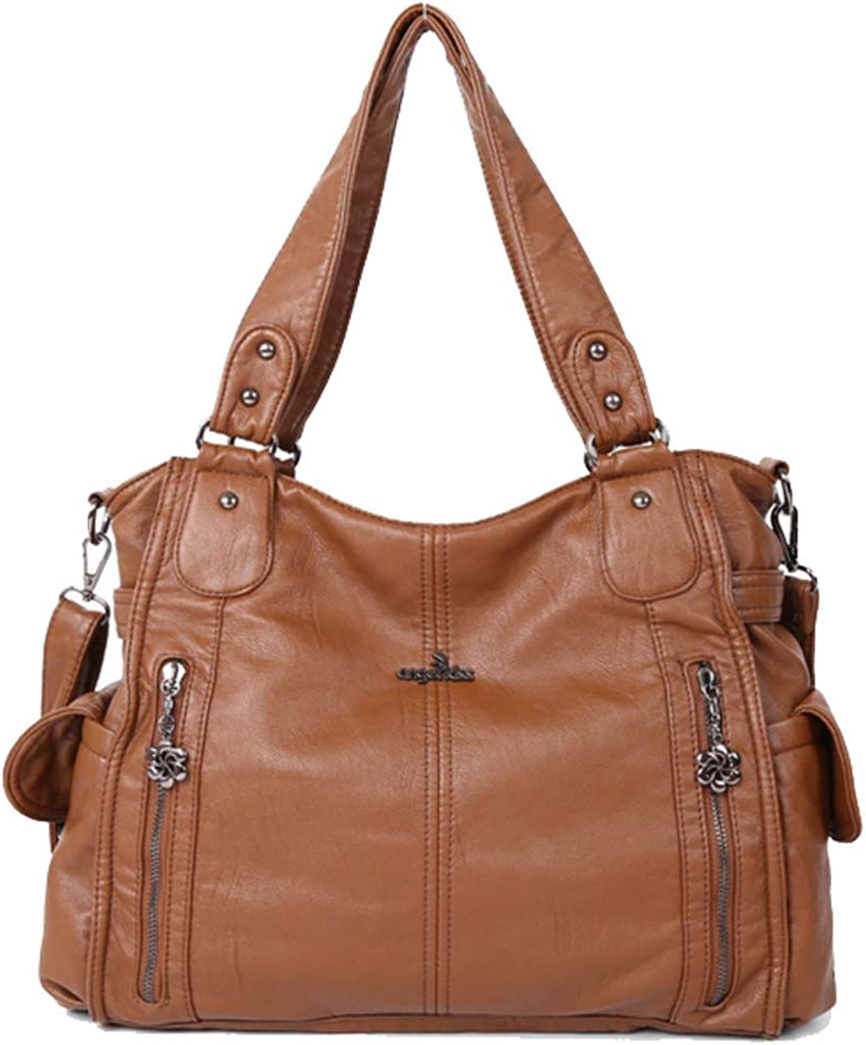 YaJaMa Women Front Zippers Washed Leather Handbag Shoulder Crossbody Daily Bag Totes (Brown)