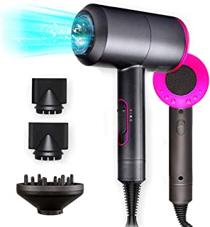 Hair Dryer,1800Watt Professional Salon Negative Ionic Hair Blow Dryer dry with 3 Heat Settings, 2 Speed & One Cool shot Settings, AC Motor with Diffuser, 2 Concentrator Nozzles