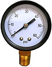 Cobsvika Pool Filter Pressure Gauge 0-60 Psi 2 Inches Dial Pool Pump Gauge Fits for Most Brands Water Pressure Gauge for Pool,Spa and Aquariums (60Psi)